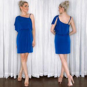 Blue One Shoulder Drape Dress